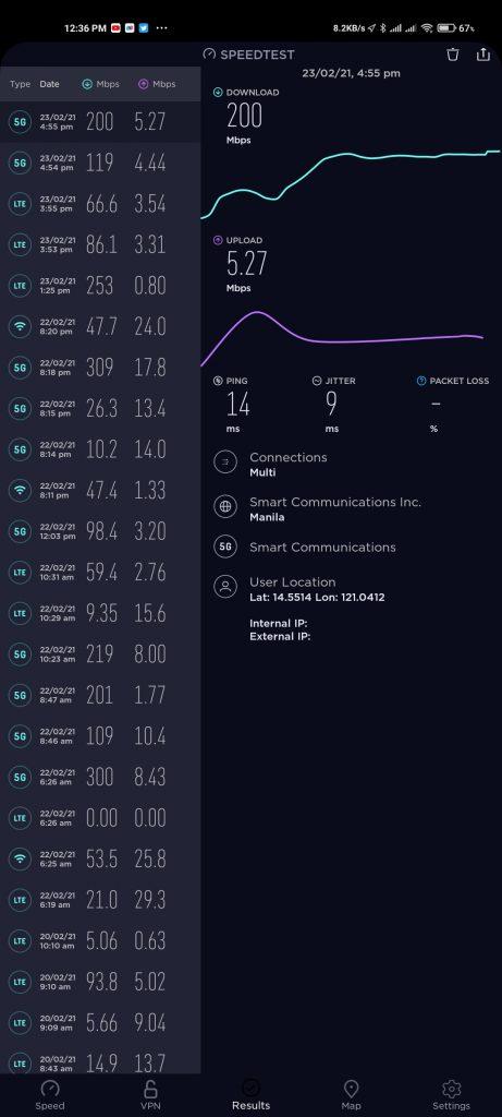 Speedtest result shared
