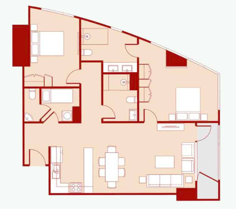 2 Bedroom A - Floor Layout - 110 to 116 sqm