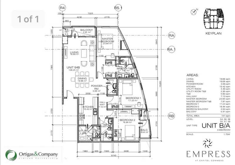 3 Bedroom - Floor Layout - 146 sqm