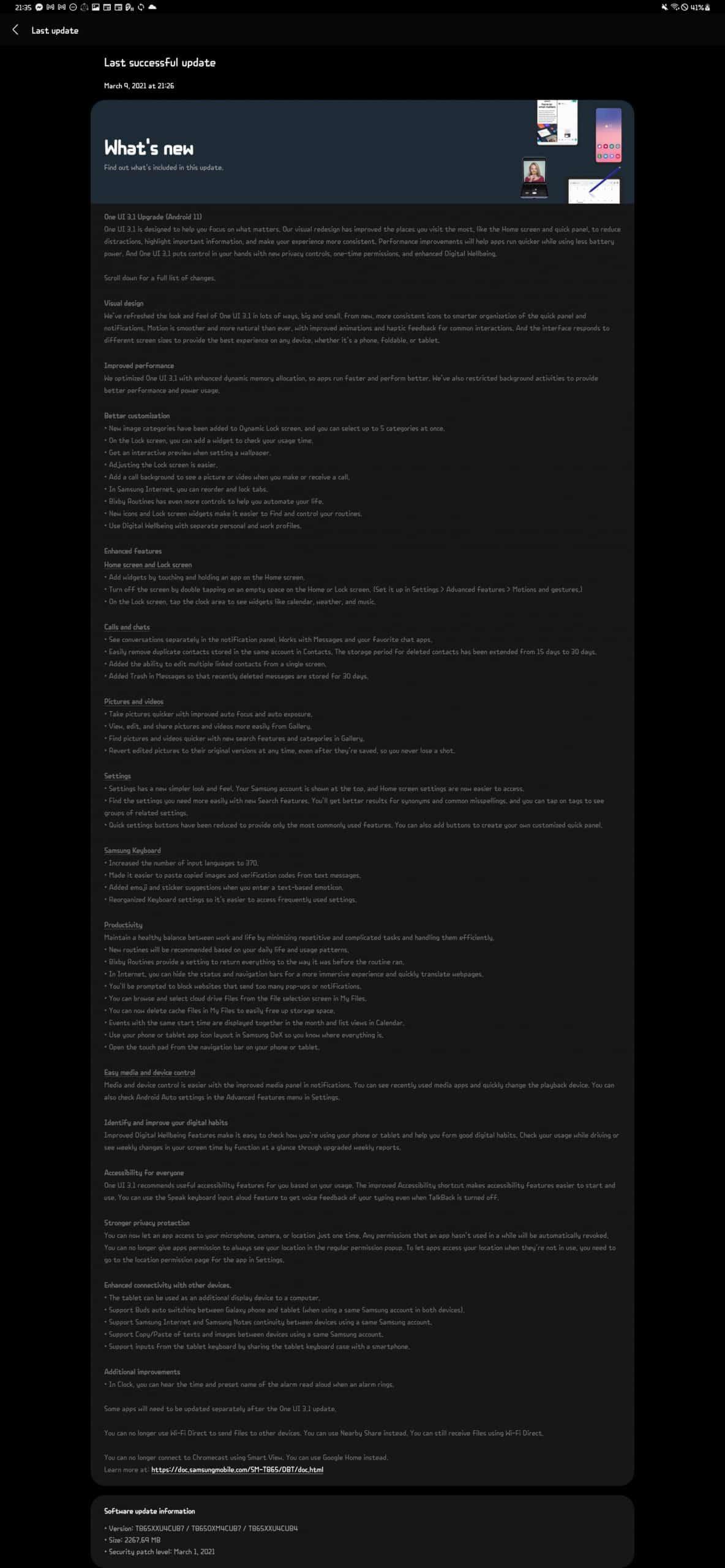 Tab S6 One UI 3.1